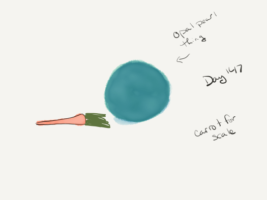 Watercolor of a large blue-green pearl with a carrot for scale. The carrot is roughly the diameter of the pearl.