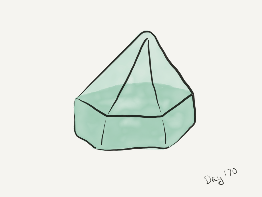 Watercolor of a six-sided ship's prism.