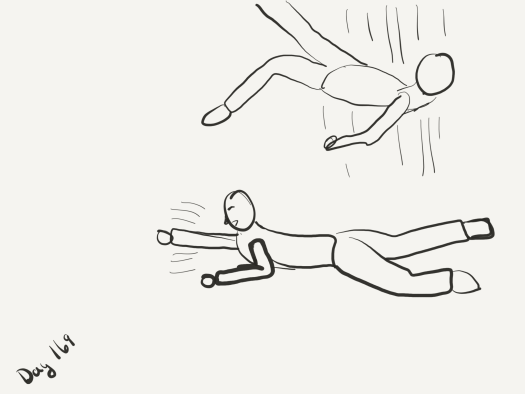 Line drawing of one zombie on the floor swinging at something off-screen and another zombie falling from above.
