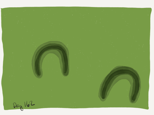 Top-down watercolor of two horse-hoof-shaped indents in a green background.