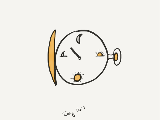 Drawing of a simple pocket watch. The face has a moon at the 12 position, a half-risen sun at the 3 position, a full sun at the 6 position, and a half-risen moon at the 9 position. It also only has one hand.