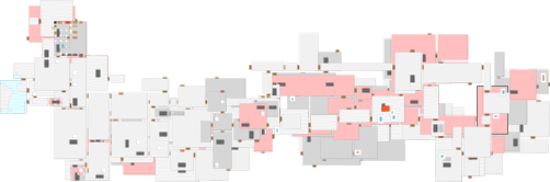 an incredibly complicated map of 15 levels (from above) in multiple colors with stairways and waterways and lava all marked.