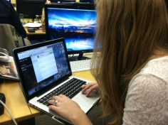 Ithaca College sophomore Alexandra Alteio logs on to Skype to begin a video chat with her mom. Many students use video chats to keep in touch while at college.