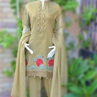 OLIVE KHAADI NET SUIT WITH GOLD SHADE