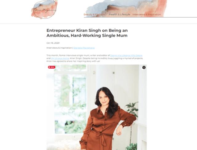 Kiran Singh - As seen in Femie Magazine
