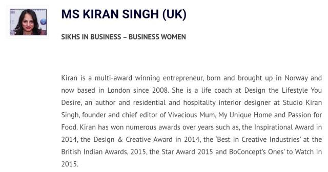 Kiran Singh winner - Sikh Awards 2016