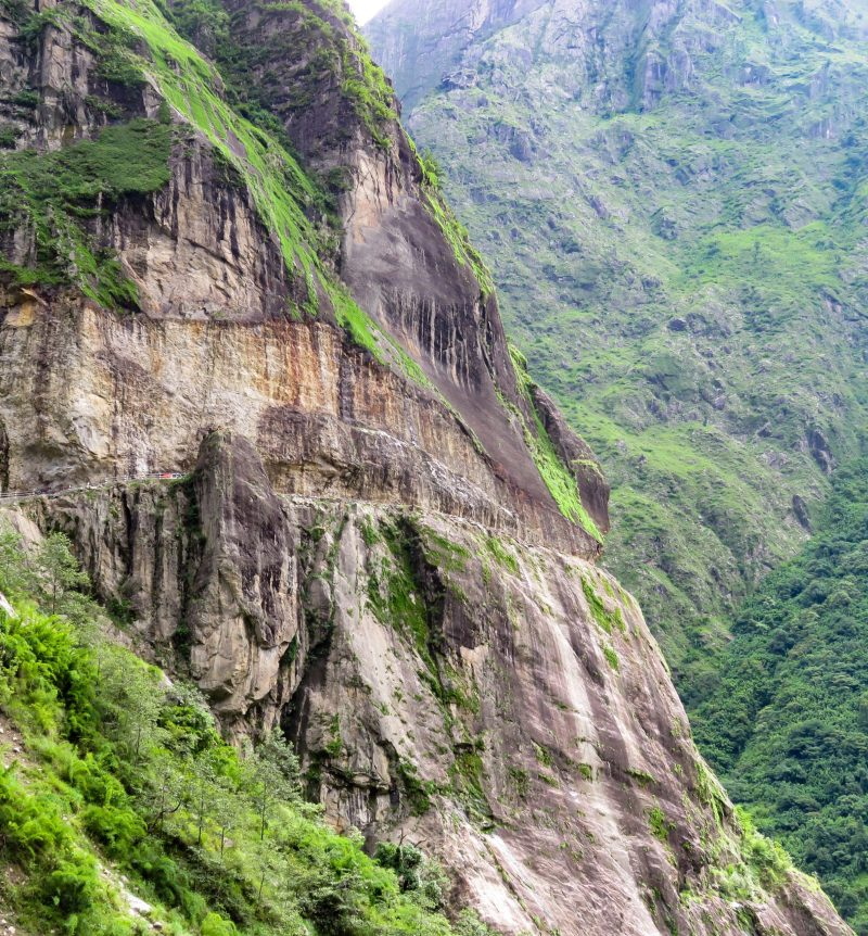Dangerous mountain road on the way to manang