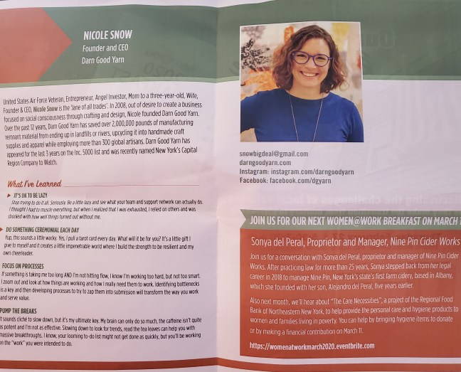 photo of the brochure from the February 2020, Women@work, networking event featuring Nicole Snow, founder and CEO of Darn Good Yarn