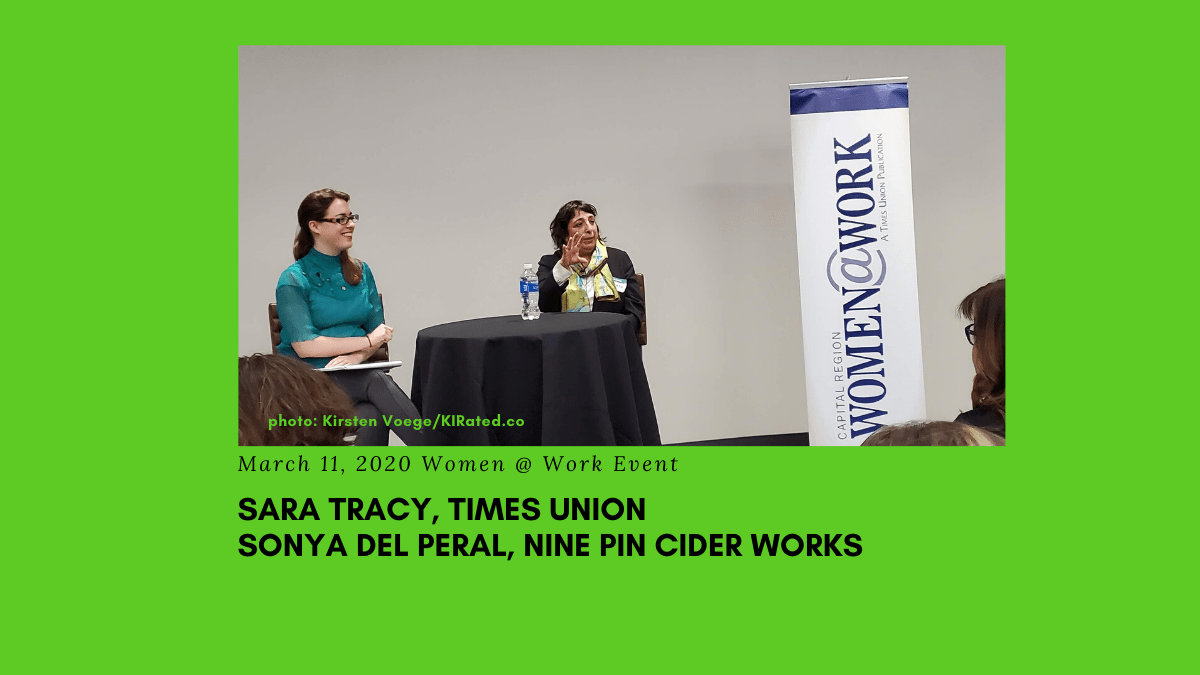 Sara Tracy and Sonya del Peral at the March 2020 Women@Work Times Union Women Who Lead breakfast series event, Colonie, NY, Photo : Kirsten Voege/KIRated Communications