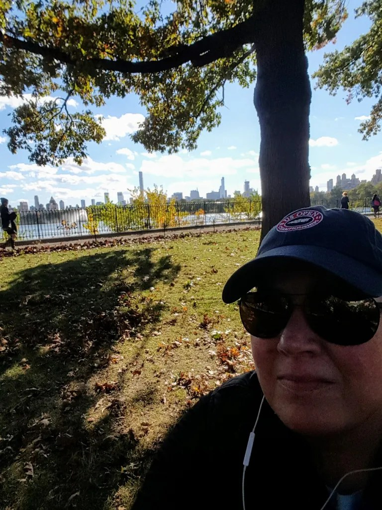 The author, Kirsten Voege on a walk in Central Park listening to a Top podcast