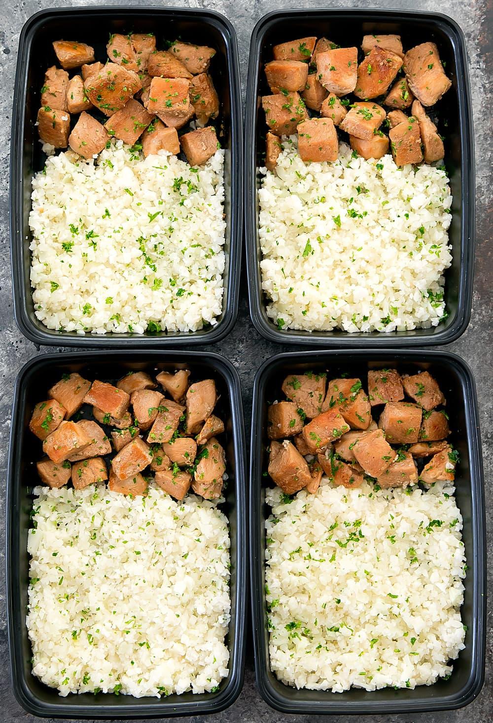 Honey Garlic Butter Chicken with Cauliflower Rice Meal Prep