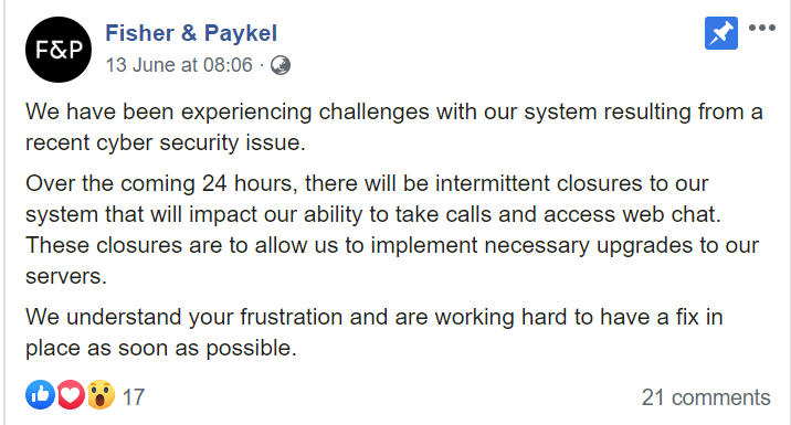 Incident: Fisher & Paykel Appliances struck by Nefilim ransomware | iTnews
