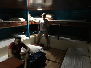The sleeping quarters of the dhow...it's blurry because the boat was so rocky! Lots of people got sea sick. Not me!