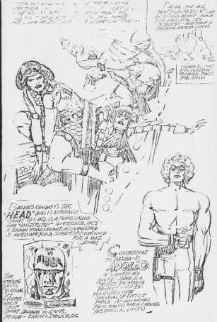 Barda And her Female Furies presentation pencil art photocopy