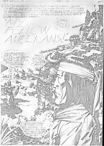 1976 - Captain America Bicentennial Battles page 25 pencil art photocopy