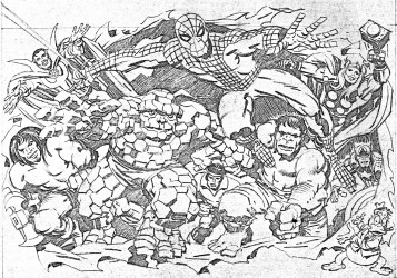 1977 Marvel Comics Memory Album cover pencil art