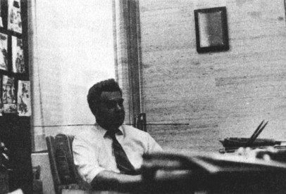 Pictured above is Jack Kirby in the office of National's publisher, Carmine Infantino, answering one of the many questions we asked him that afternoon.