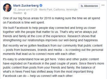 Screenshot des Statements von Mark Zuckerberg zur neuen Facebook Strategie