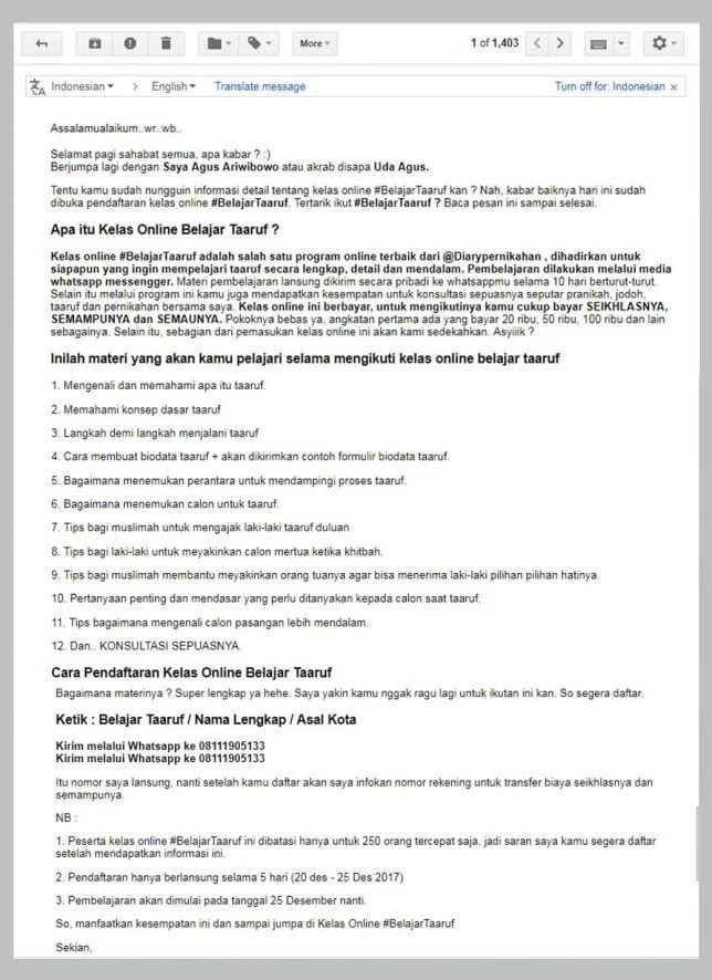 contoh broadcast email pak agus ariwibowocontoh broadcast email pak agus ariwibowo