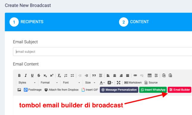 tombol email builder pada broadcast