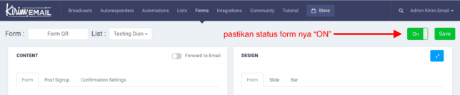 "pastikan status form dalam kondisi ""ON"""