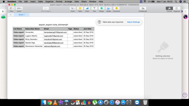 csv pada aplikasi Numbers di MacOS