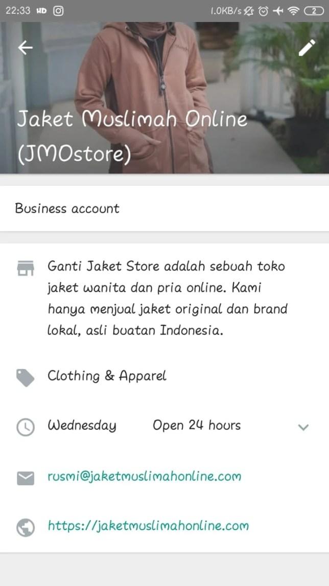 contoh optimalisasi Business Profile WhatsApp Bisnis
