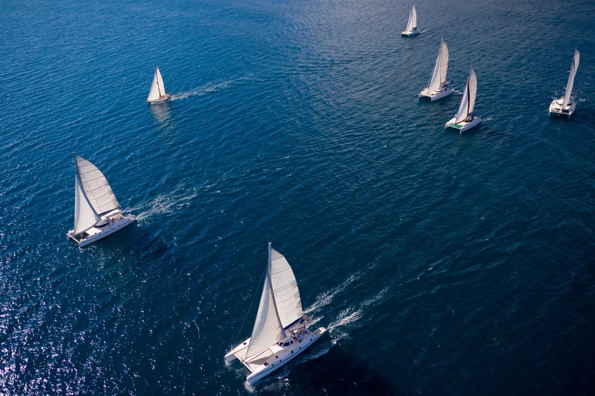 Sailing regatta in the open ocean