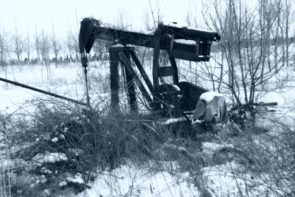 abandoned oil well in a cold region
