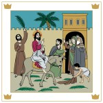 Kuvituskuva: Jeesus ratsastaa aasilla, ihmiset heittävät maahan palmunoksia.