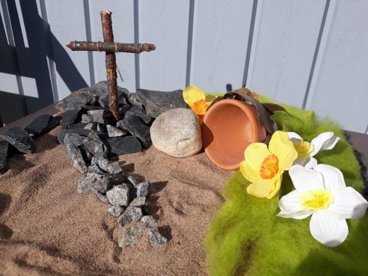 Talon seinustalle rakennettu pääsiäisasetelma. Risti on tehty kahdesta pienestä oksasta, sen ympärille on kerätty kiviä sekä ruukku, vihreätä huovutusvillaa ja keväisiä kukkia.
