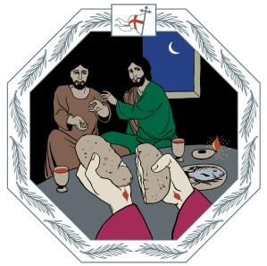 Piirroskuvassa opetuslapset istuvat pöydän ääressä hämmästyneen näköisenä, koska he tunnistavat Jeesuksen, jonka piti olla kuollut, kun tämä alkaa jakaa ehtoollusta. Jeesuksen käsissä näkyvät vielä ristiinnaulitsemisen jäljet kun hän murtaa leipää.