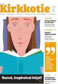 Kirkkotien 2/2021 kansi. Kuvassa nainen lukee kirjaa.