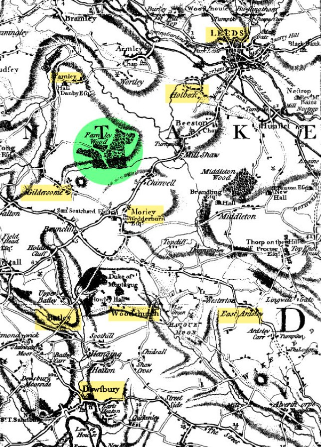 1775 Map West Yorkshire - this edited section copyright © Christine Widdall
