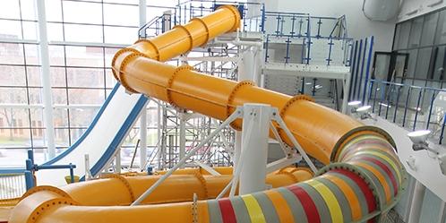 Splash park and slides at Huddersfield Leisure Centre