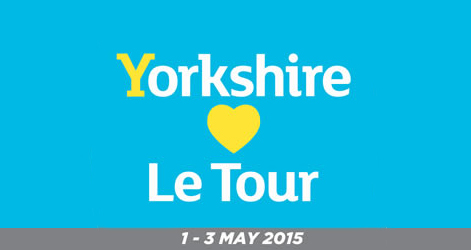 "a poster saying: Yorkshire ""hearts"" le tour"