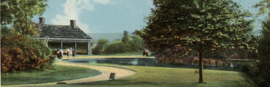 A old postcard image of the Lake at Beaumont Park