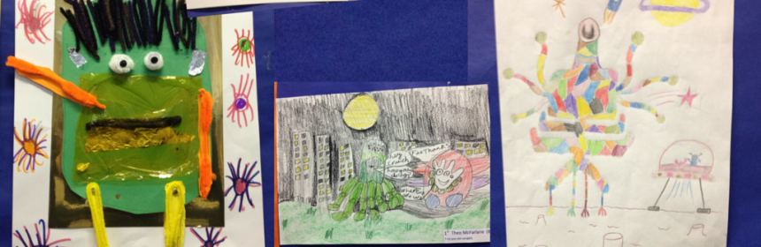 The winning artwork in the children's sci-fi competition