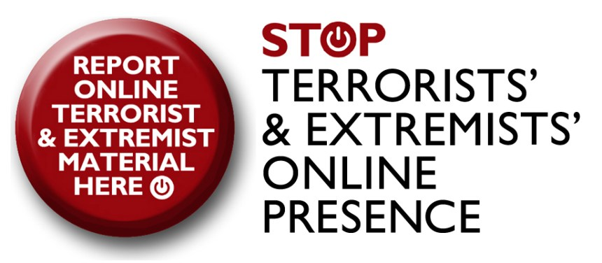 Report extremist material button