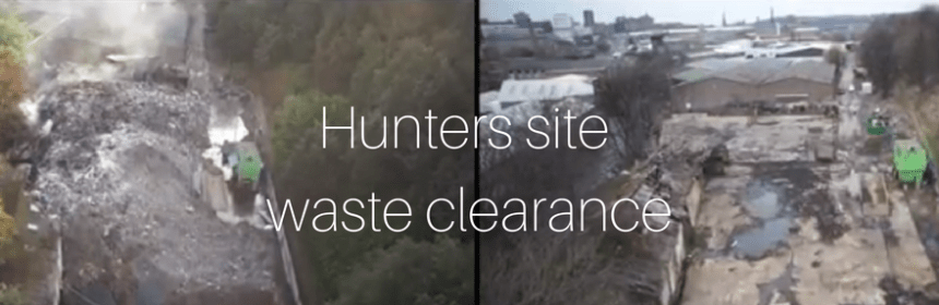 tile with before and after images of Hunters Site