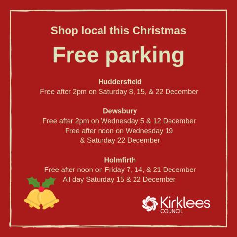Free Christmas Parking in Kirklees 2018