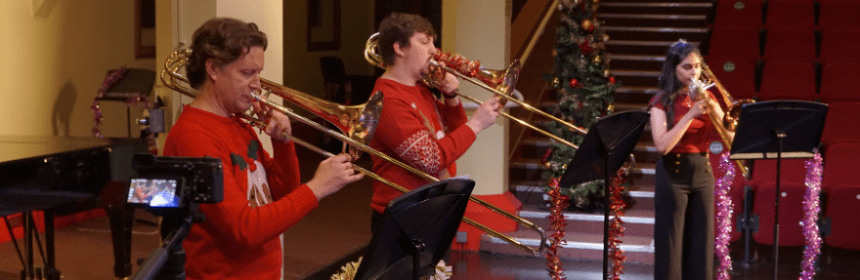 a brass band playing