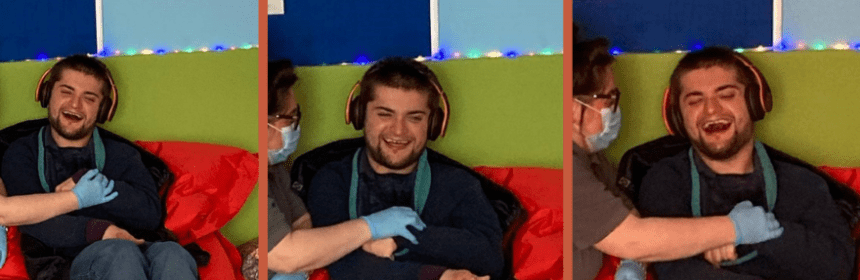 Images of Archie, smiling in a sensory room.