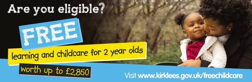 child sat on a someone's knee. Promotional text: Are you Eligible, Free learning and childcare for 2 year olds worth up to £2850