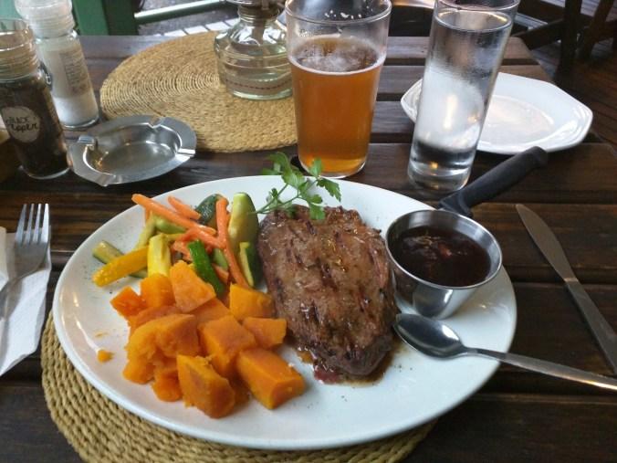 Wildebeest Steak and Sabie Beer