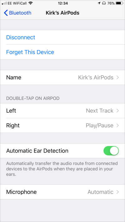 Airpod settings