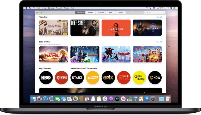 Macos catalina tv watch now