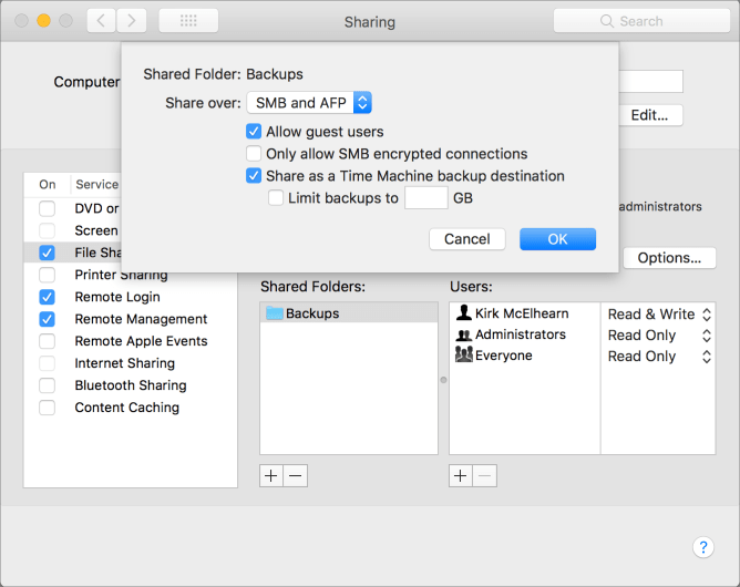 Kirkville - How to Use Time Machine Server in macOS High Sierra