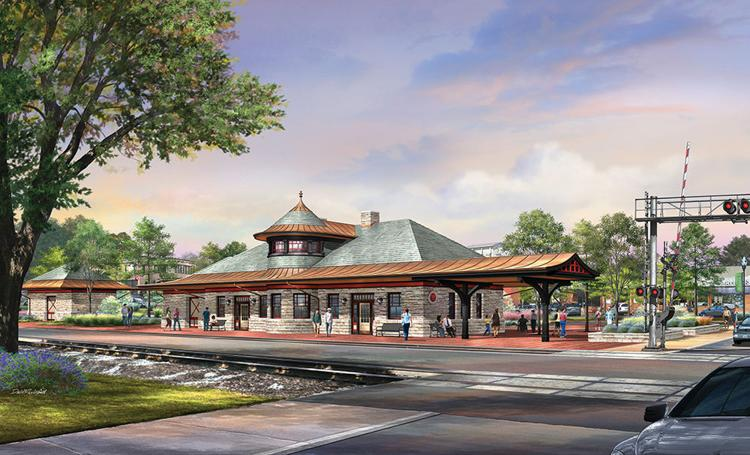 A rendering of Kirkwood Train Station as seen from South of the tracks. The upgrades alluded to in the caption are seen.