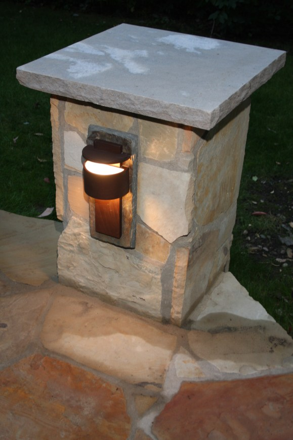 1-Accent Lighting on Patio post with lime stone cap